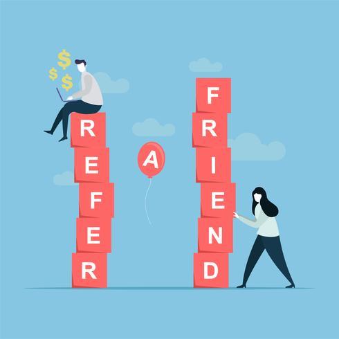 Refer a friend banner template vector