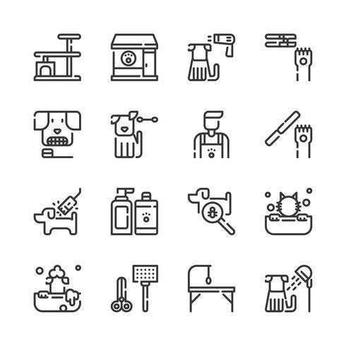 Conjunto de ícones de loja de cuidados de animal de estimação. Ilustração vetorial
