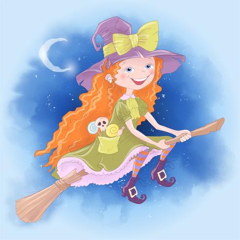 Ejemplo lindo de la historieta con la bruja de la muchacha. Impresión del cartel de la postal para el día de fiesta Halloween.