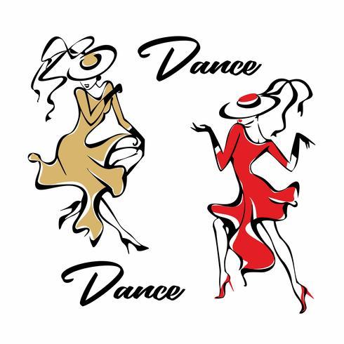 Tjej i en röd klänning dansande. Flickan i hatten. Dans. Roligt. Vektor