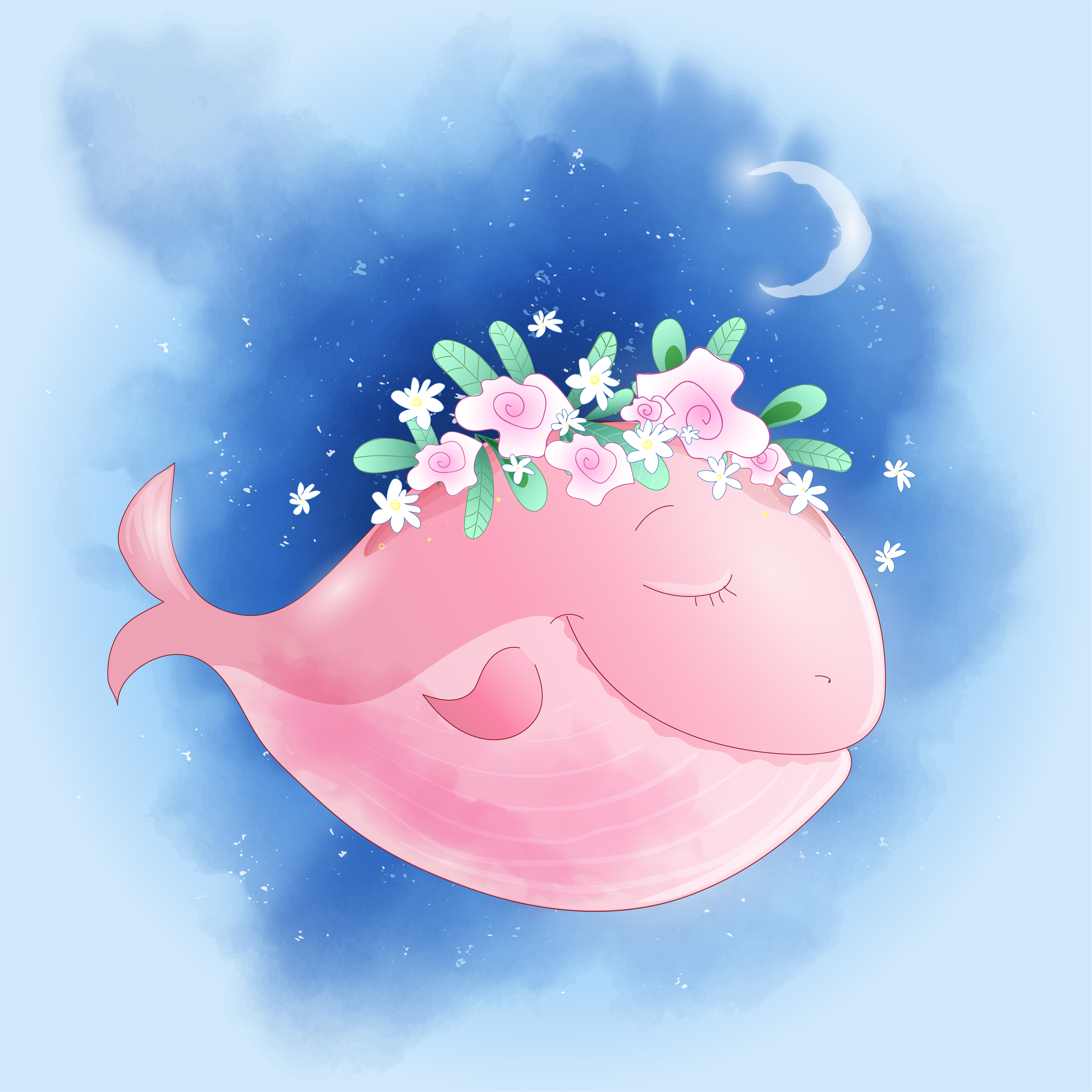 Cute Cartoon Whale In The Sky With Roses House Postcard Print Poster For The Children S Room Download Free Vectors Clipart Graphics Vector Art