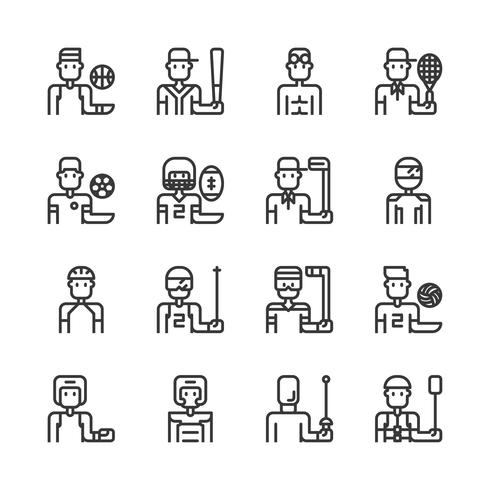 Sport avatar icon set.Vector illustratie