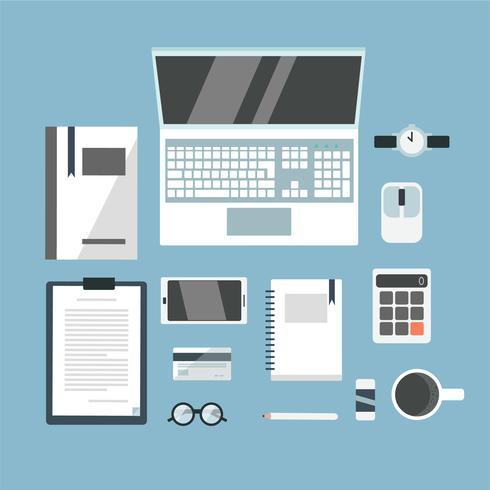 Ilustración del concepto de espacio de trabajo de oficina vista superior