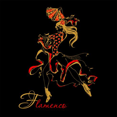 Flamenco spanska dansare kvinna vektor illustration. Den svarta bakgrunden.