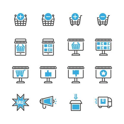 Achat en ligne jeu d'icônes. Illustration vectorielle