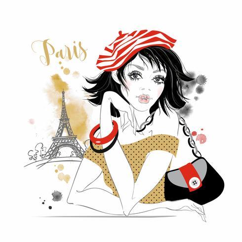 Schönes Mädchen in Paris. Beauty-Modell. Eiffelturm. Grafik. Aquarell. Vektor. vektor