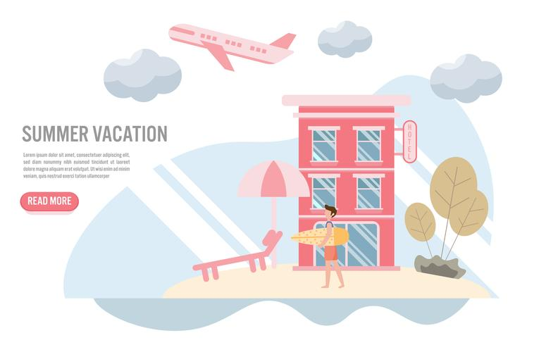 Vacanze estive e concetto di viaggio con carattere. Design piatto creativo per banner web