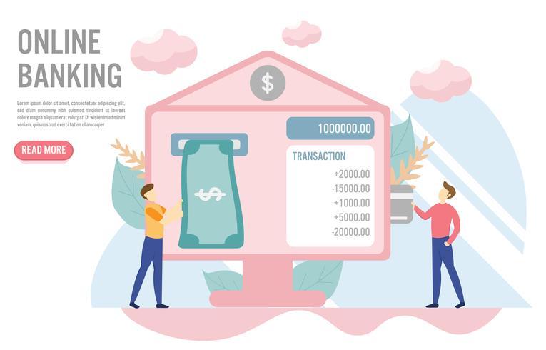 Concetto di attività bancarie online con carattere. Design piatto creativo per banner web vettore
