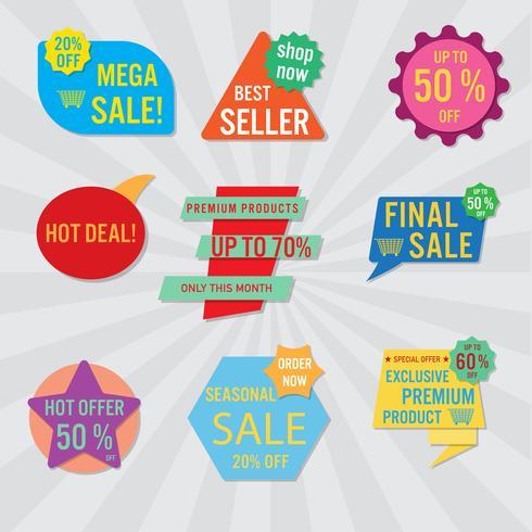 Set van verkoop labels en banner. Kleurrijk ontwerp.