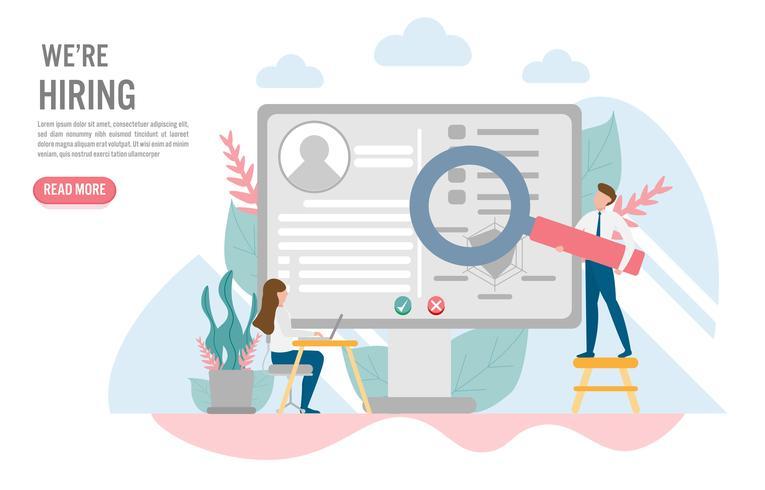 Concetto di assunzione e reclutamento con carattere. Design piatto creativo per banner web