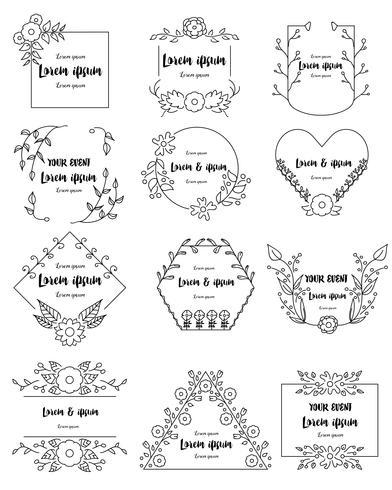 Dibujado a mano marcos florales establecidos para la marca