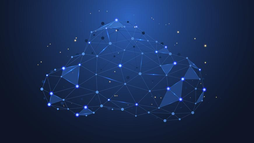 Abstract connecting dots and lines with Cloud computing.  futuristic technology with polygonal or geometric shapes.