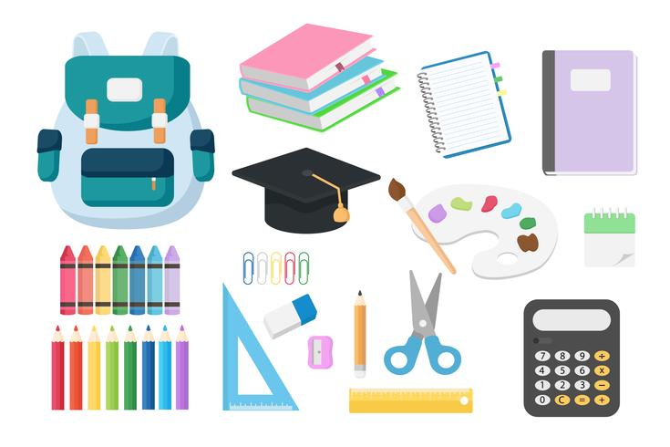 Basic RGBSet of back to school objects isolated on white background which include of book, note book, pencil crayon ,bag ,calculator, scissor and ruler. Vector illustration concept for new semester students.