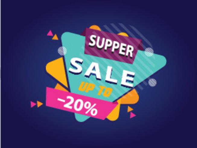 Super venda banner, design colorido, ilustração vetorial vetor