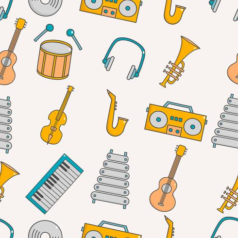 Cute seamless pattern with music  vector