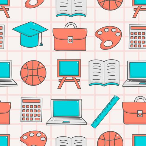 Cute seamless pattern with education
