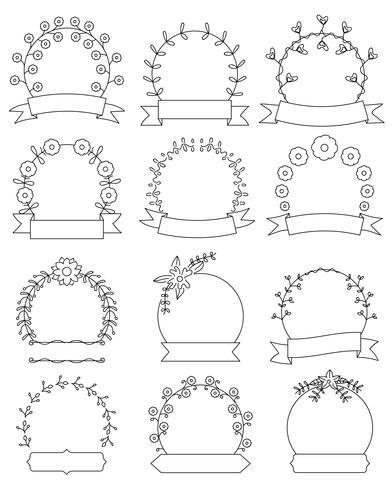 Hand drawn floral round frames set vector