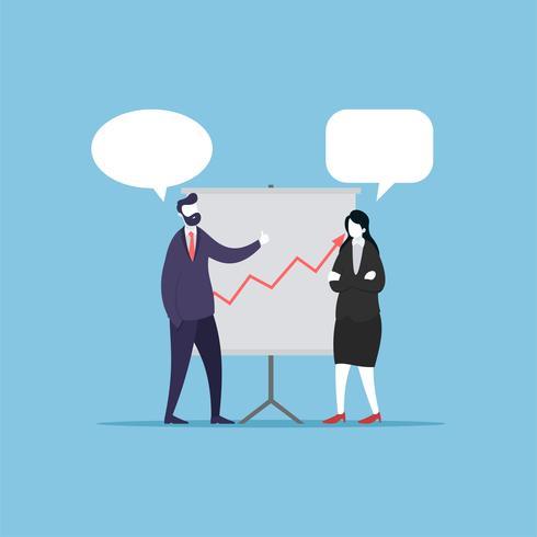 Empresario y empresaria hablando de ganancias rentables.