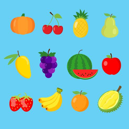 Conjunto de la colección linda del icono de 12 frutas del color aislada en el fondo blanco para los niños que aprenden las palabras y el vocabulario ingleses. Ilustracion vectorial