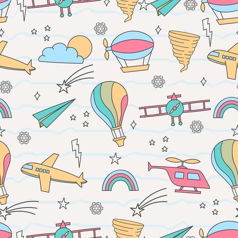 Leuk naadloos patroon met luchtvervoer