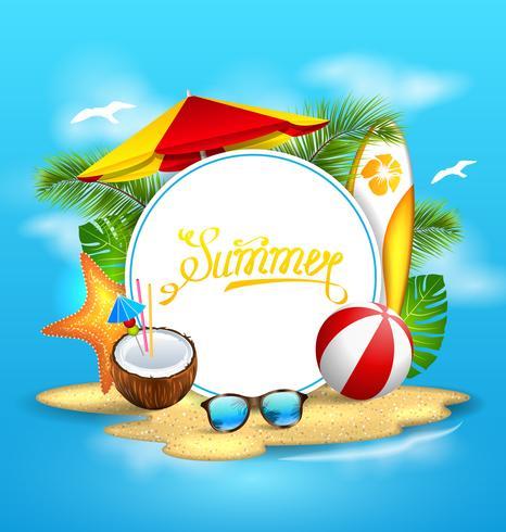 Fondo de verano con mar, isla, playa, paraguas, coctel de coco