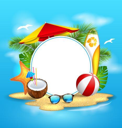 Fondo de verano con mar, isla, playa, paraguas