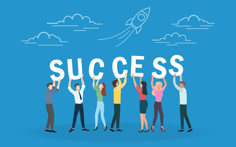 """Concetto creativo di """"brainstorming"""" di affari di lavoro di squadra riuscito e di strategia aziendale per il team-building, il co-working e il successo. Caratteri di design piatto per banner web, materiale di marketing e presentazione."""
