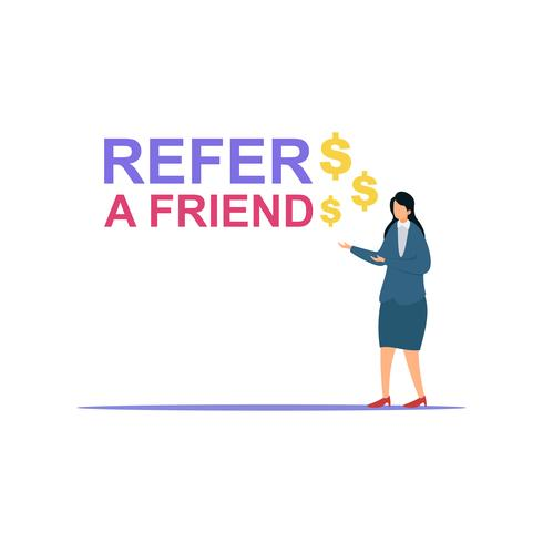 Businesswoman share info about refer a friend to earn cash vector illustration concept.