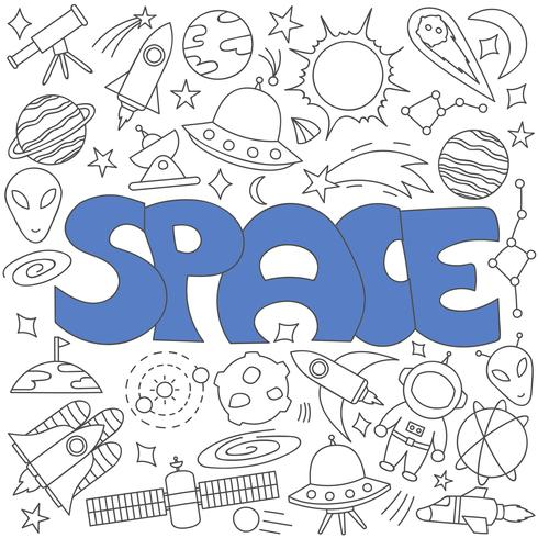 Hand drawn doodle of space set