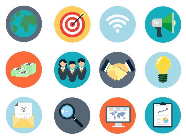 Le icone di affari hanno impostato 12 parti per il commercio digitale di affari e SEO di fotoricettore.
