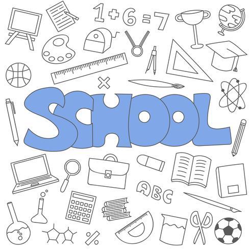 Doodle disegnato a mano del set di scuola