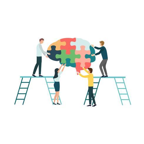 Gruppo di lavoro di squadra di persone che assemblano un puzzle del cervello. Concetto per la riabilitazione cognitiva nella malattia di Alzheimer e nei pazienti con demenza. vettore