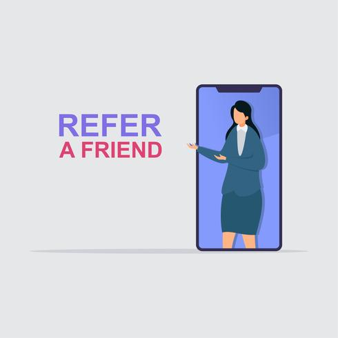 Businesswoman share info about refer a friend to earn cash. vector