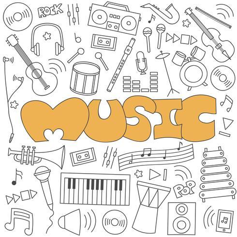 Hand getrokken doodle van muziek set
