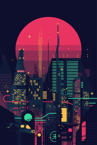 Paesaggio urbano distopico di notte