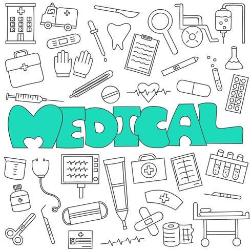 Doodle dessiné à la main de l'ensemble médical et des soins de santé
