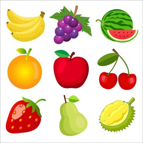 et de coleçà £ o do Ãcone dos frutos plana de 9 cores bonito isolado no fundo branco para crianças que aprendem as palavras inglesas e vocabulário. Ilustração vetorial