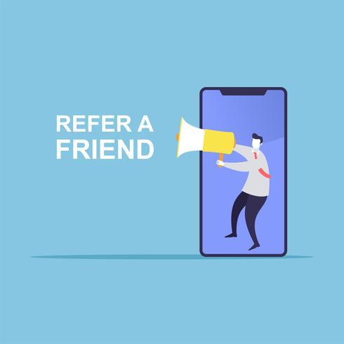 Homme d'affaires partager des informations sur se référer à un ami.