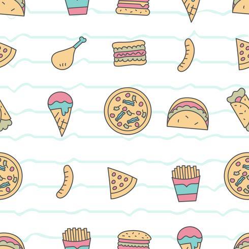 Lindo patrón sin costuras con comida rápida vector