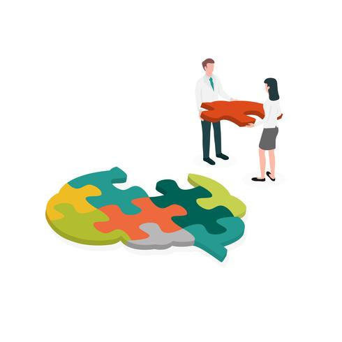 Occupational therapist or medical professional assembling a brain jigsaw puzzle. Concept picture for cognitive rehabilitation in Alzheimer disease and dementia patient.