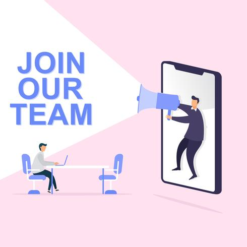 Businessman share info about join our team. vector