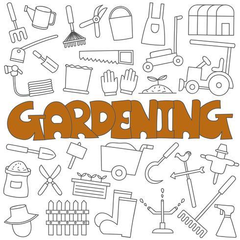 Doodle desenhado de mão do conjunto de jardinagem