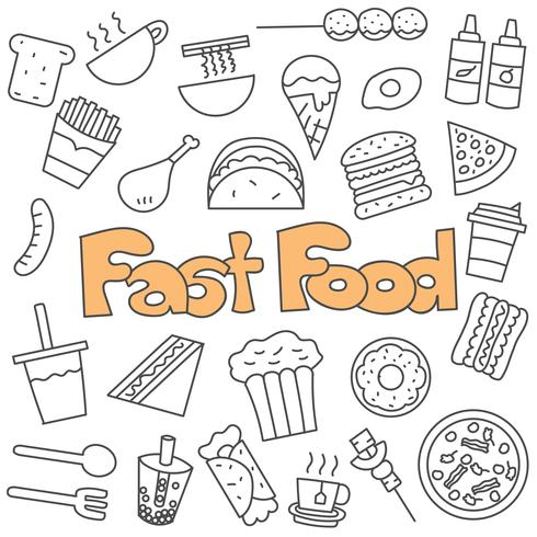 Hand drawn doodle of fast food set