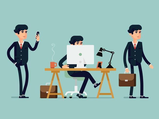Sats kontorsarbetare poserar