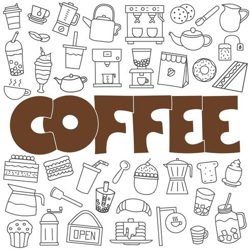 Hand drawn doodle coffee set vector