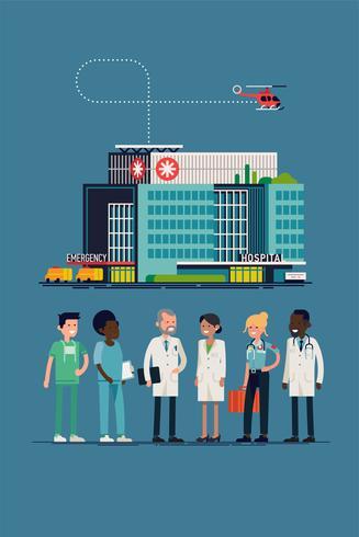 Ziekenhuisteam en gebouw