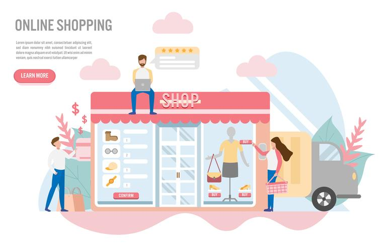 Compras on-line com design plano character.reative para web banner vetor
