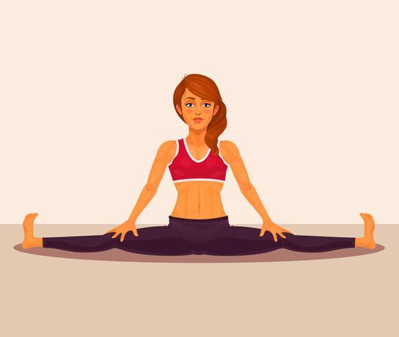 Vector l'illustrazione della ragazza di yoga che fa le spaccature.