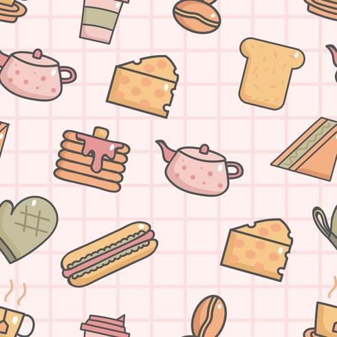 Nettes nahtloses Muster mit Frühstück