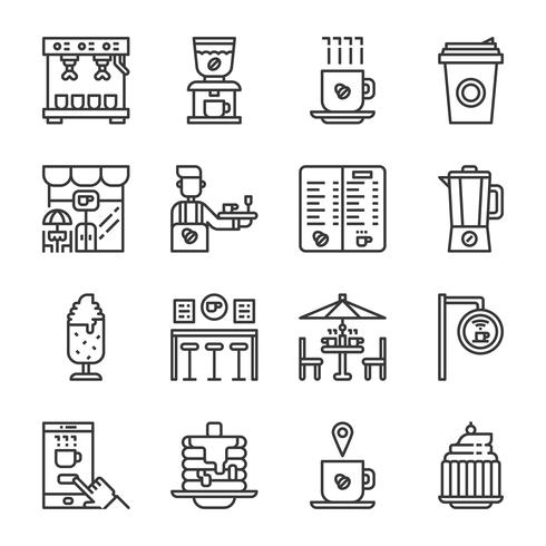 Insieme dell'icona della caffetteria. Illustrazione di vettore